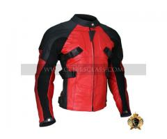 Buy Best Quality Armored Style Deadpool Bikers Leather Jacket In USA